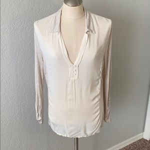 Cream blouse from Anthropologie